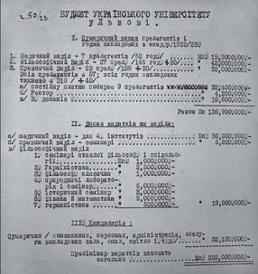 Зведений бюджет УТУ на 1922/23 н. р. (ЦДІА України у Львові, ф. 310, оп. 1, спр. 151, арк. 1)
