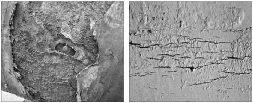 Приклади корозійного стоншення (ліворуч) та корозійного розтріскування (праворуч) труби