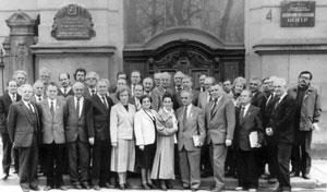 Зустріч представників НТШ в Україні з діячами діяспори під час Першої наукової сесії НТШ. Львів, 1990 р.